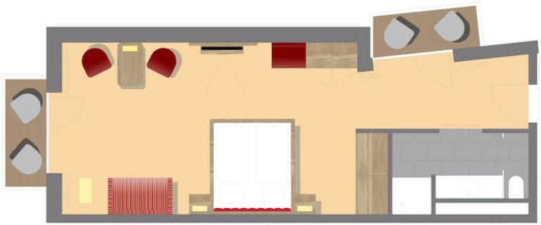 Grundriss großes Komfortdoppelzimmer-Allergikerzimmer