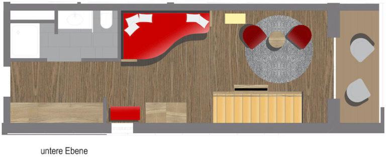 Grundriss Romantikzimmer untere Ebene